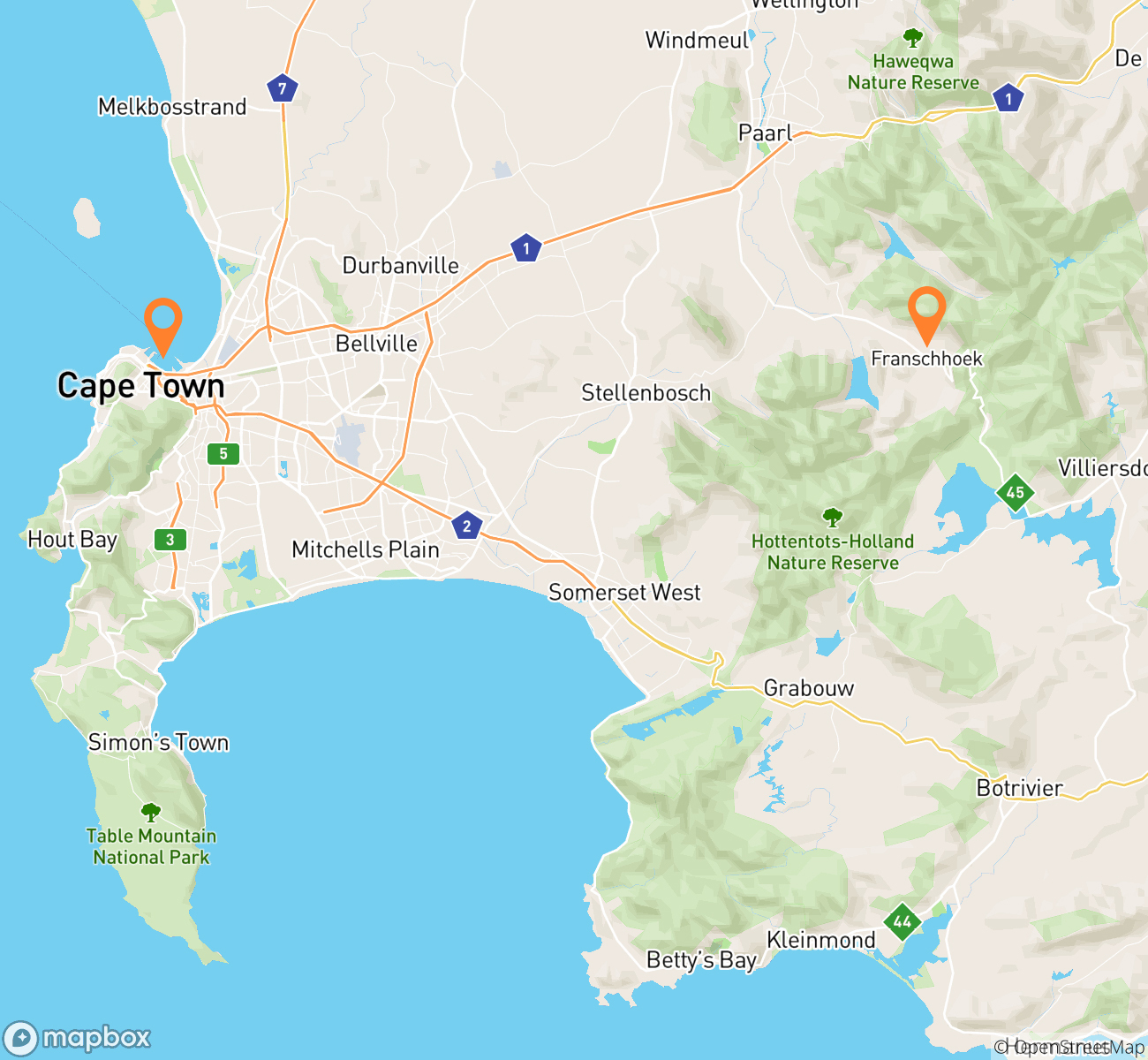 Scenic Cape Town & Winelands Mindfullness Escape Map